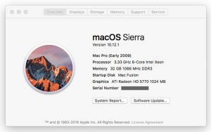 """Picture showing the upgraded Mac Pro's """"About This Mac"""""""