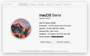 Screenshot of my Mac Pro's 'About This Mac' before I upgraded the CPU