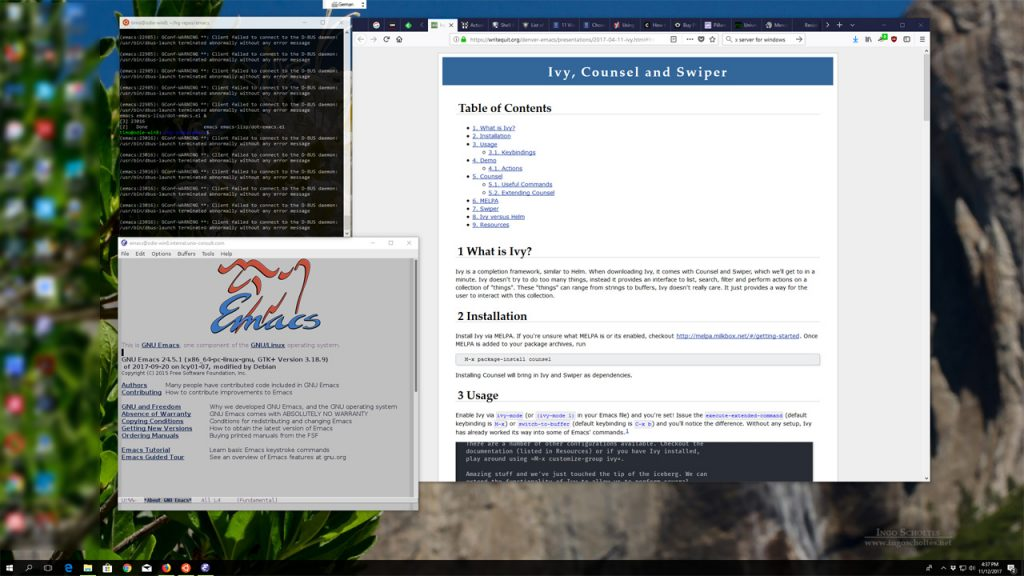 Screenshot of my desktop showing Emacs 24.5 running on Linux Subsystem for Windows