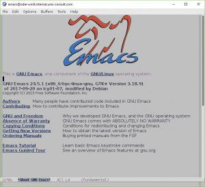 Screenshot of an Ubuntu GNU Emacs 24.5 running on Windows