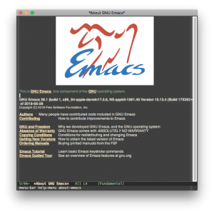 Screenshot of Emacs 26.1 running on OS X