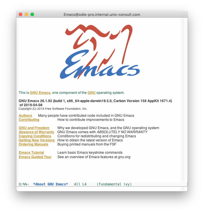 Screenshot of a GUI Emacs 26.1.92 running on Mac OS X Mojave