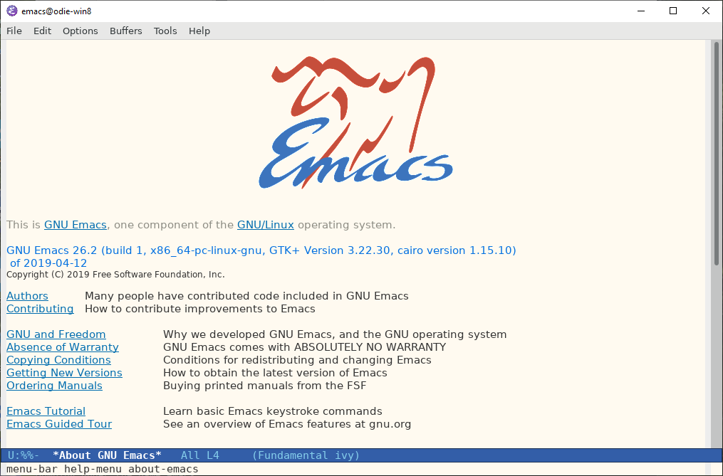 Screenshot of a freshly built Emacs 26.2 running on WSL